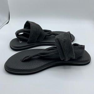 Sanuk Yoga Sling Flat Sandal Gray/Black Size 7